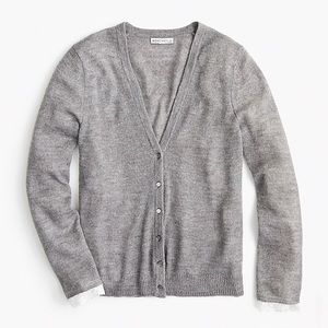 Sweaters - JCREW Mercantile Grey Lace Cardigan SMALL